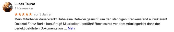 Google Bewertung Privatdetektive Berlin