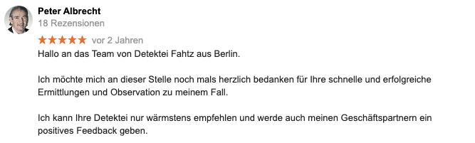 Google Bewertung Privatdetektiv Berlin